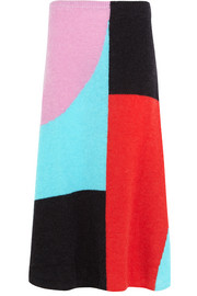 Jessam color-block alpaca-blend midi skirt