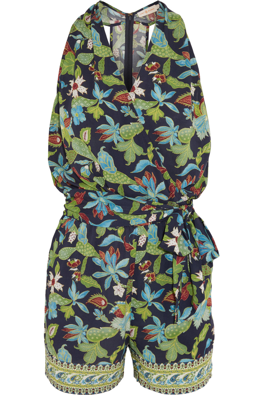 Tory Burch Printed Jersey Wrap Playsuit, Forest Green, Women's, Size: M