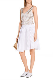 Pleated cotton-poplin skirt