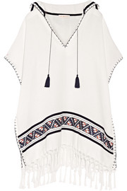Tory Burch Fringed embroidered woven cotton poncho