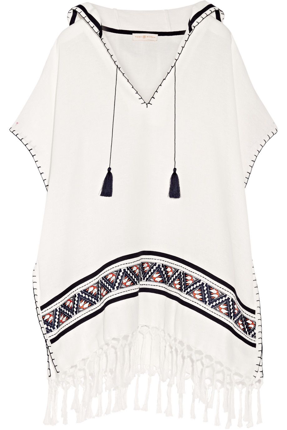 Tory Burch Fringed Embroidered Woven Cotton Poncho, Ivory, Women's, Size: XS/S