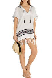 Fringed embroidered woven cotton poncho
