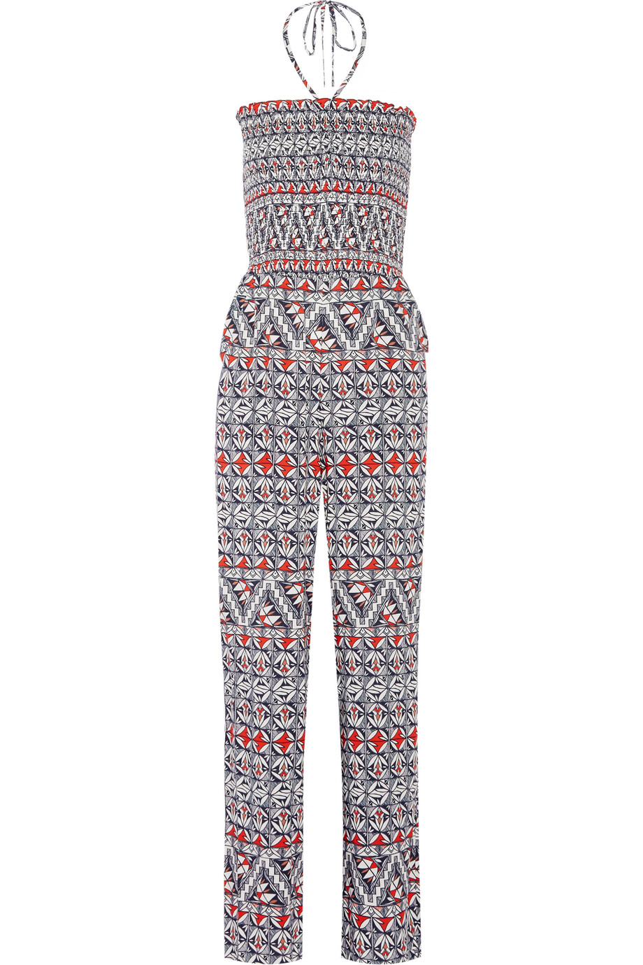 Tory Burch Printed Voile Jumpsuit, Navy, Women's, Size: S