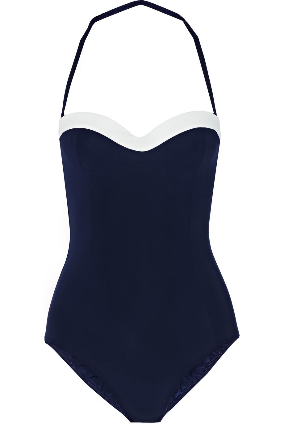 Tory Burch Two-Tone Swimsuit, Navy, Women's, Size: XS