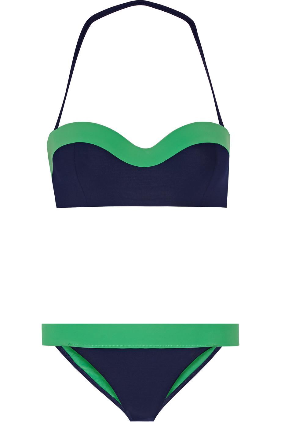 Tory Burch Two-Tone Bandeau Bikini, Navy/Green, Women's, Size: M