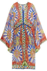 Carretto printed silk-chiffon kaftan