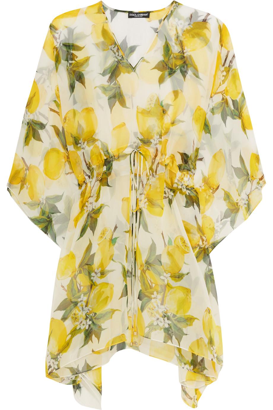 Dolce & Gabbana Printed Silk-Chiffon Kaftan, Yellow, Women's - Printed, Size: 38