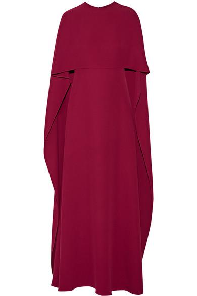 Valentino - Cape-back Silk-crepe Gown - Claret