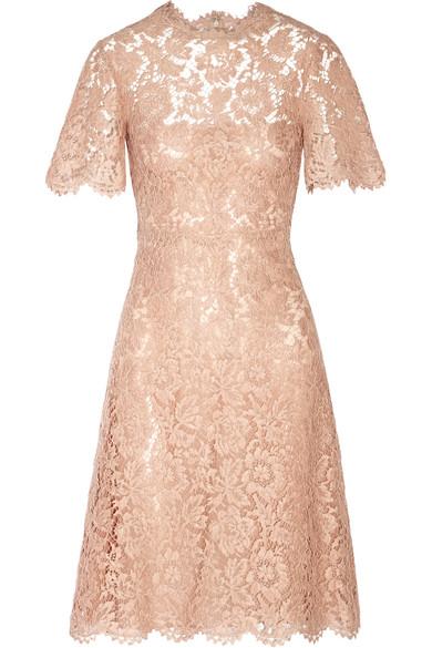 Valentino - Cotton-blend Lace Dress - Pastel pink