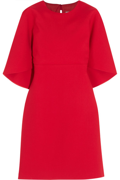 Valentino - Cape-effect Wool And Silk-blend Crepe Mini Dress - Red