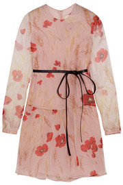 Floral-print silk-chiffon mini dress