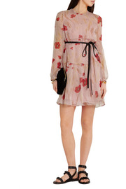 Valentino Floral-print silk-chiffon mini dress