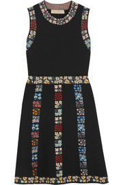 Floral-intarsia knitted mini dress
