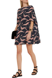 Valentino Printed cape-back silk crepe de chine mini dress