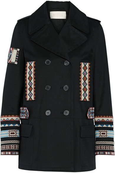 Valentino - Double-breasted Bead-embellished Cotton-twill Jacket - Black