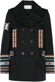 Double-breasted bead-embellished cotton-twill jacket
