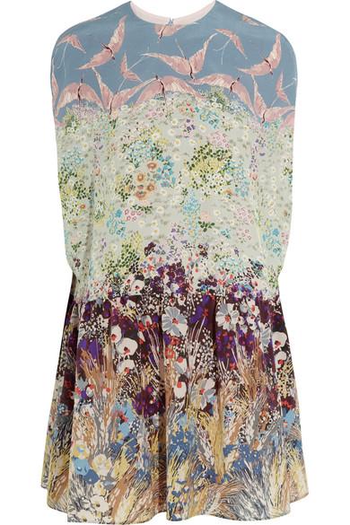 Valentino - Printed Silk Crepe De Chine Mini Dress - Light blue