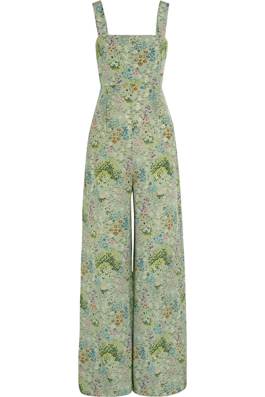 Valentino Floral-Print Silk Crepe De Chine Jumpsuit, Mint, Women's, Size: 46