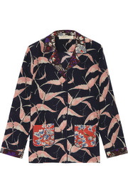 Printed silk crepe de chine blouse