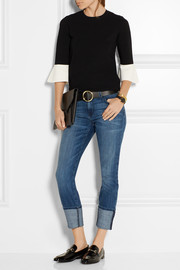Valentino Two-tone stretch-cady top