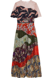 Lace-paneled pleated printed silk dress