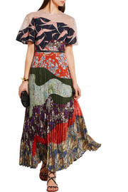 Valentino Lace-paneled pleated printed silk dress