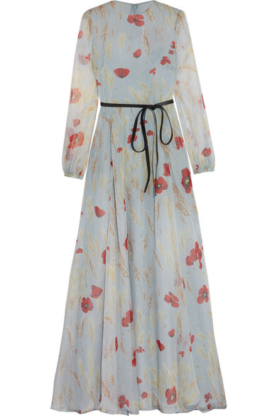 Valentino - Belted Floral-print Silk-chiffon Gown - Sky blue