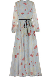 Belted floral-print silk-chiffon gown