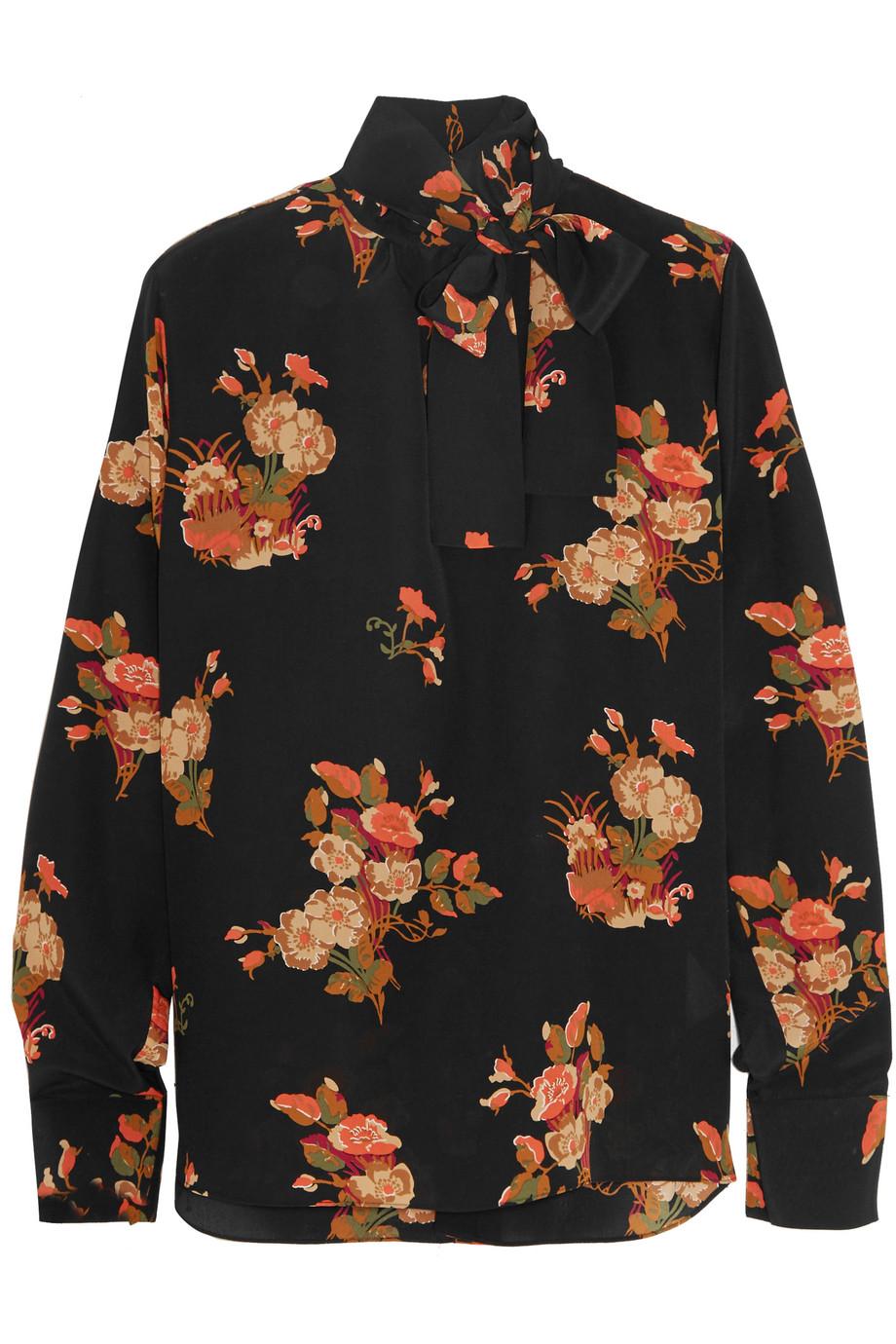 Valentino Pussy-Bow Floral-Print Silk Crepe De Chine Blouse, Black/Orange, Women's, Size: 40