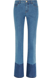 Two-tone mid-rise flared jeans
