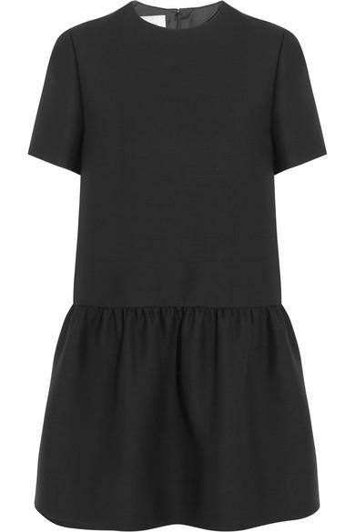 Valentino - Drop-waist Wool And Silk-blend Mini Dress - Black