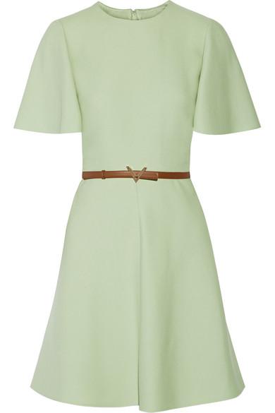 Valentino - Belted Wool And Silk-blend Mini Dress - Mint