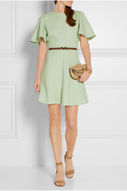 Belted wool and silk-blend mini dress