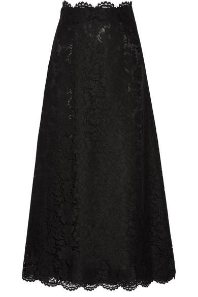 Valentino - Guipure Lace Maxi Skirt - Black