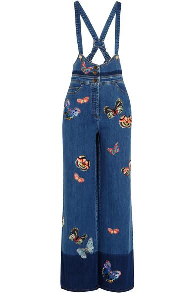 Valentino - Embroidered Stretch-denim Jumpsuit - Blue