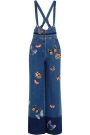 Embroidered stretch-denim jumpsuit