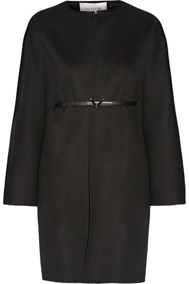 Valentino - Belted Wool And Cashmere-blend Coat - Black