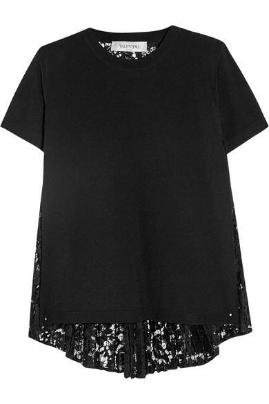 Valentino - Paneled Stretch-knit And Lace Top - Black