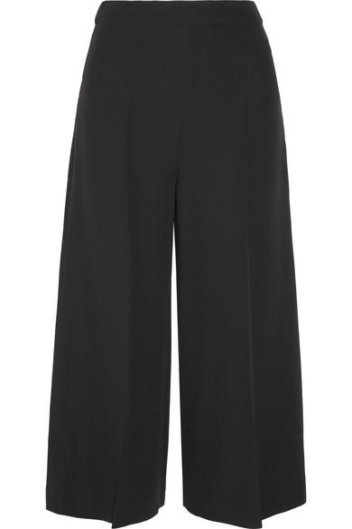 Valentino - Cropped Silk-crepe Wide-leg Pants - Black
