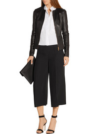 Cropped silk-crepe wide-leg pants