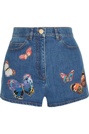 Embroidered appliquéd stretch-denim shorts