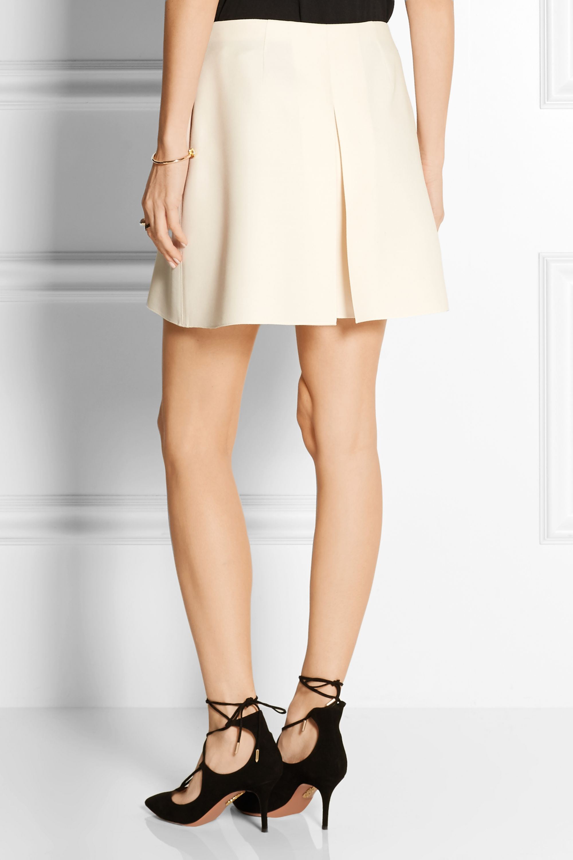 Valentino Pleated wool and silk-blend crepe shorts