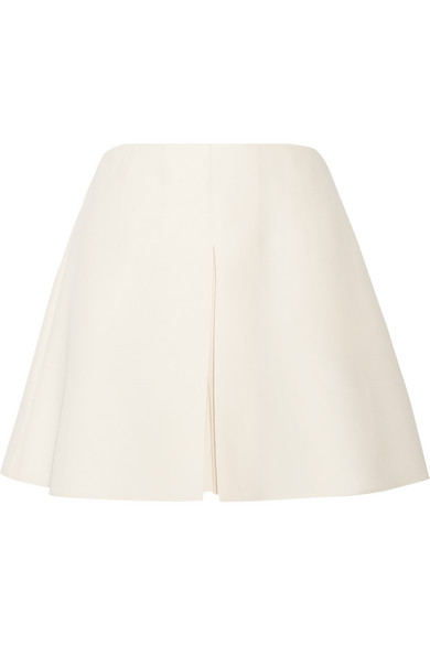 Valentino - Pleated Wool And Silk-blend Crepe Shorts - Ivory