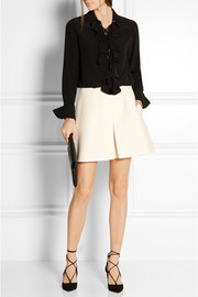 Pleated wool and silk-blend crepe shorts