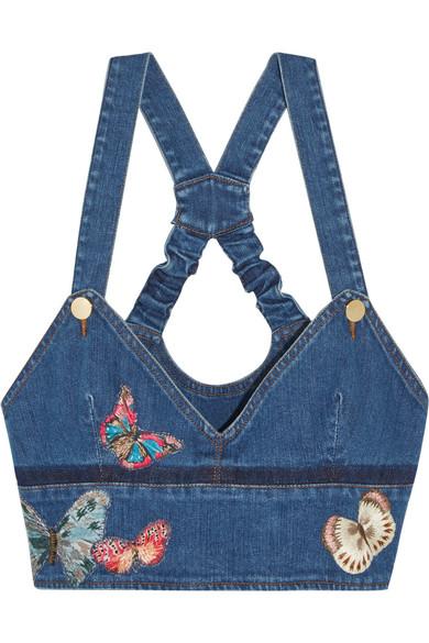 Valentino - Embroidered Appliquéd Stretch-denim Bustier Top - Blue