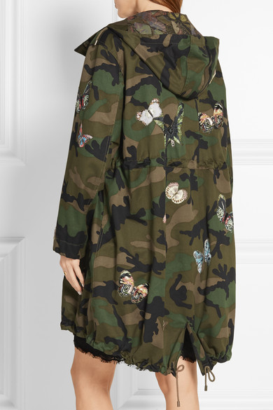 755ae82cb2c99 Valentino. Appliquéd camouflage-print cotton-twill parka. €2,940. Play