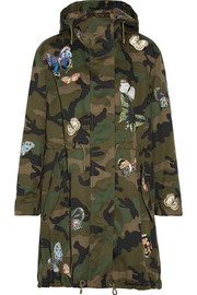 Appliquéd camouflage-print cotton-twill parka