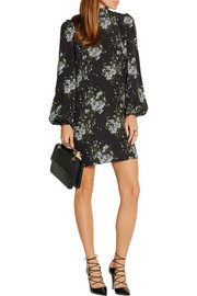 Floral-print silk crepe de chine mini dress