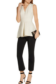 Pleated wool-blend peplum top