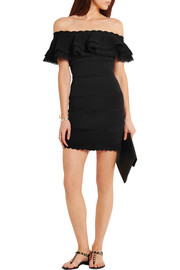 Alexander McQueen Off-the-shoulder lace-paneled cotton-blend mini dress